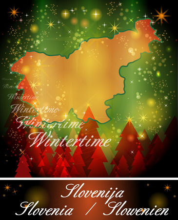 Map of Slovenia in Christmas Design