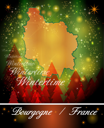 mines: Map of Burgundy in Christmas Design