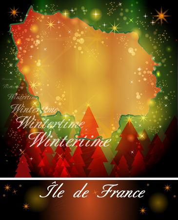 Map of Ile-de-France in Christmas Design Stock Photo