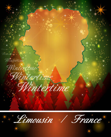limousin: Map of limousin in Christmas Design