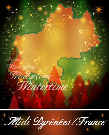 toulouse: Map of Midi-Pyrenees in Christmas Design