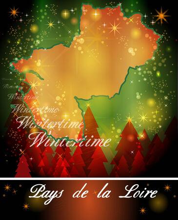 pays: Map of Pays de la Loire in Christmas Design
