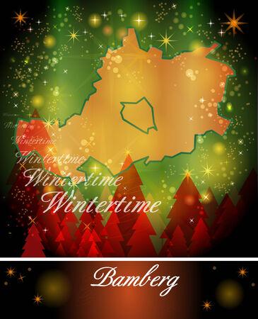 li: Map of Bamberg in Christmas Design Stock Photo