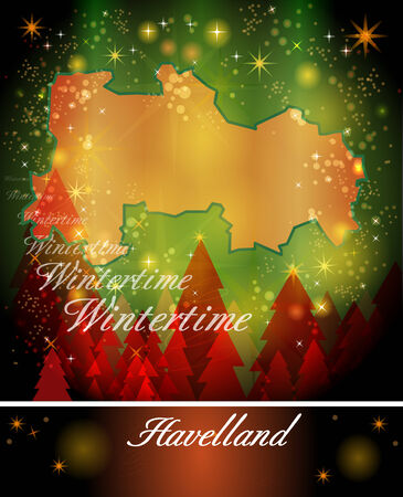 falkensee: Map of Havelland in Christmas Design Stock Photo