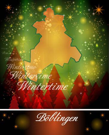 Map of Boeblingen in Christmas Design