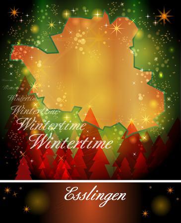 teck: Map of Esslingen in Christmas Design
