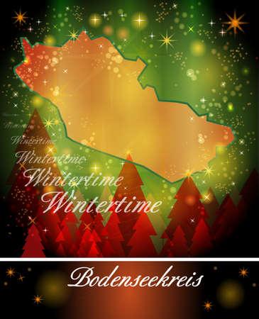 friedrichshafen: Map of Bodenseekreis in Christmas Design Stock Photo