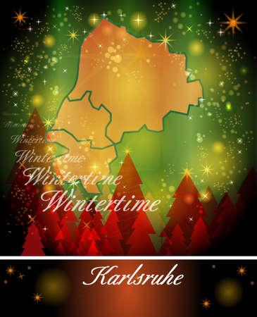 karlsruhe: Map of Karlsruhe in Christmas Design Stock Photo