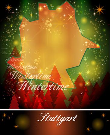 stuttgart: Map of Stuttgart in Christmas Design Stock Photo