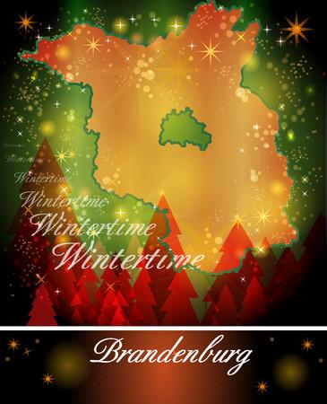 falkensee: Map of Brandenburg in Christmas Design Stock Photo