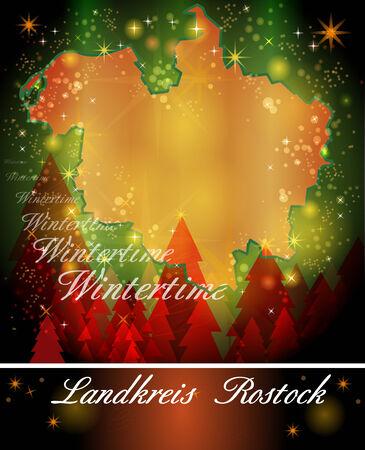 rostock: Map of Rostock in Christmas Design Stock Photo
