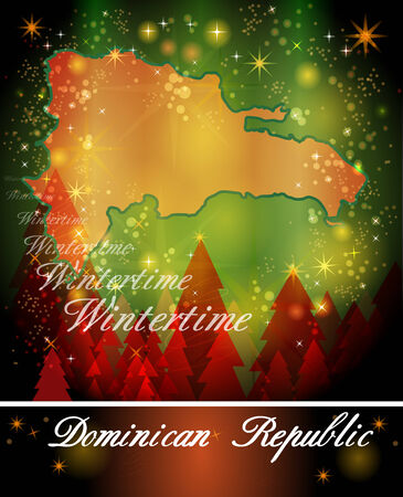 port au prince: Map of Dominican Republic in Christmas Design