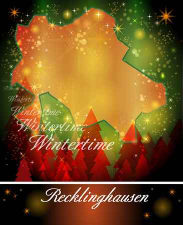 christmassy: Map of Recklinghausen in Christmas Design Stock Photo