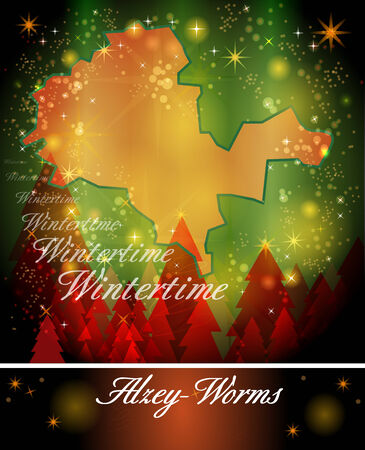 Map of Alzey in Christmas Design Stock Photo