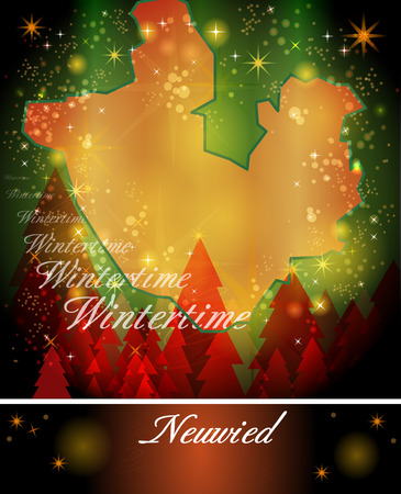 christmassy: Map of Neuwied in Christmas Design Stock Photo