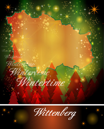 christmassy: Map of Wittenberg in Christmas Design Stock Photo