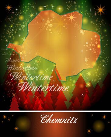 christmassy: Map of chemnitz in Christmas Design Stock Photo