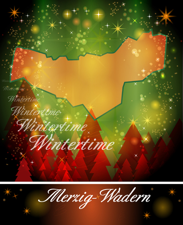 perl: Map of Merzig-Wadern in Christmas Design Stock Photo