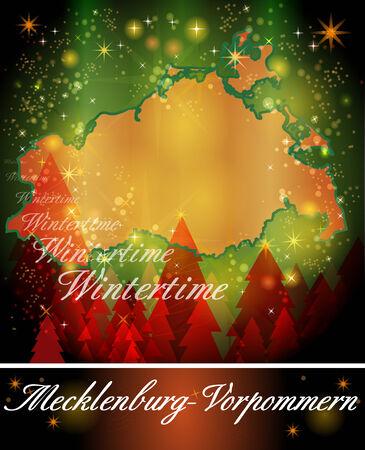 mecklenburg  western pomerania: Map of Mecklenburg-Western Pomerania in Christmas Design Stock Photo