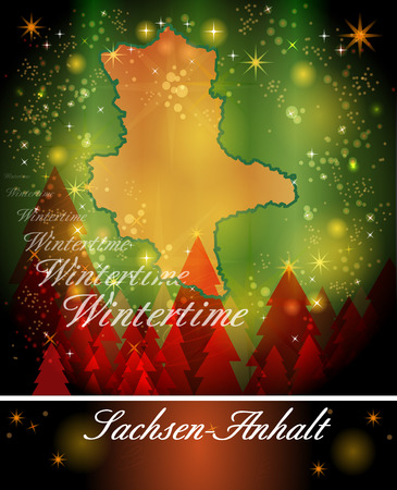 christmassy: Map of Saxony-Anhalt in Christmas Design