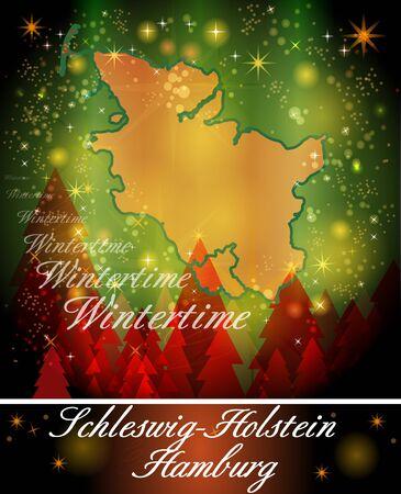 holstein: Map of Schleswig-Holstein in Christmas Design Stock Photo