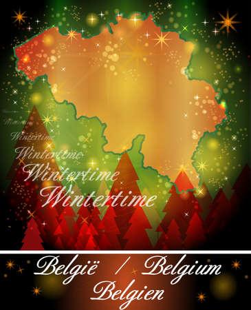 gent: Map of Belgium in Christmas Design