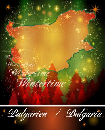 bulgaria: Map of Bulgaria in Christmas Design