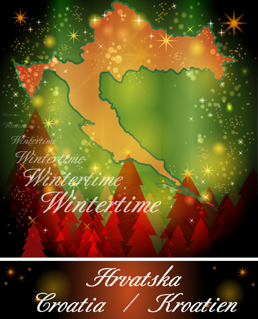 Map of Croatia in Christmas Design Stock Photo