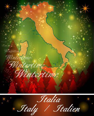 terni: Map of Italy in Christmas Design