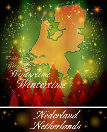 Kaart van Nederland in het Ontwerp van Kerstmis