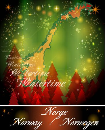 christmassy: Map of Norway in Christmas Design Stock Photo