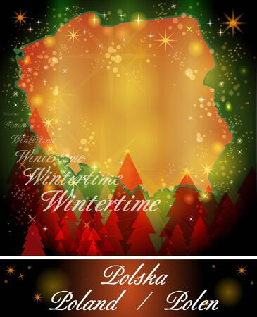 Map of Poland in Christmas Design