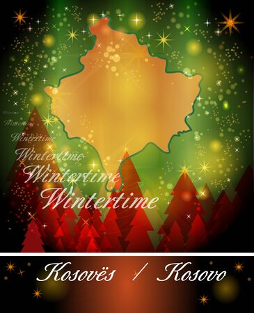 christmassy: Map of Kosovo in Christmas Design Stock Photo