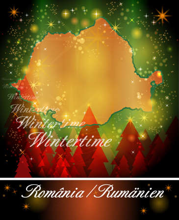 Map of Romania in Christmas Design Stock Photo