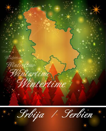 serbia xmas: Map of Serbia in Christmas Design