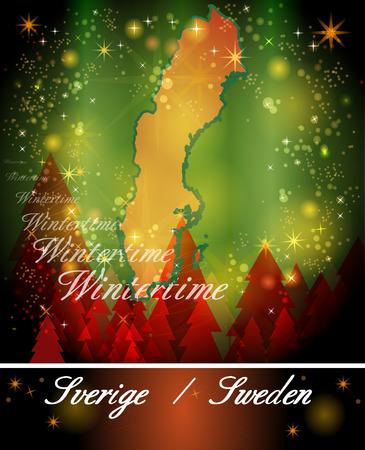 sverige: Map of Sweden in Christmas Design Stock Photo