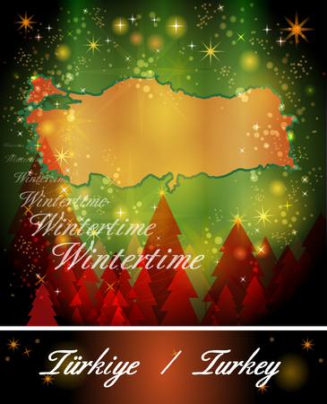 bursa: Map of Turkey in Christmas Design Stock Photo