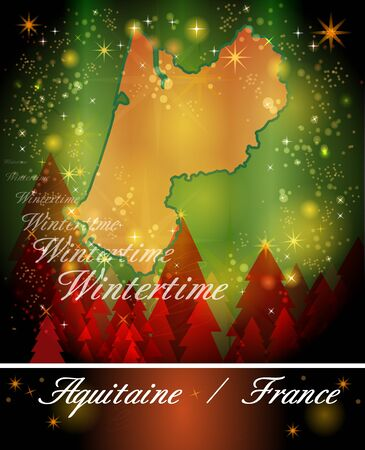 christmassy: Map of aquitaine in Christmas Design