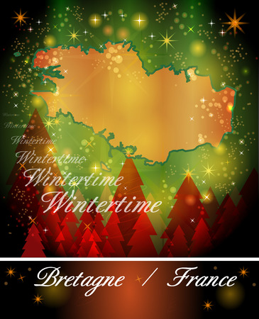 brittany: Map of Brittany in Christmas Design
