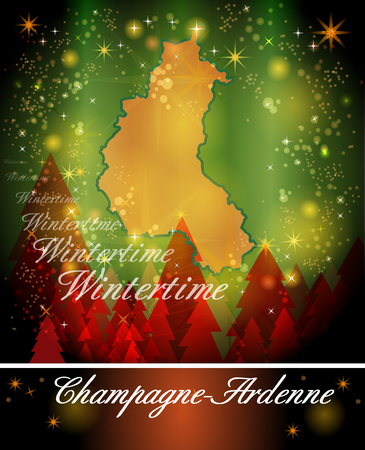 reims: Map of Champagne-Ardenne in Christmas Design Stock Photo