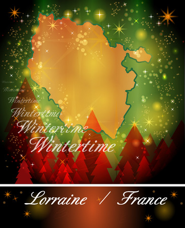 Map of lorraine in Christmas Design Stock Photo