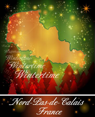sur: Map of North-pas-de-calais in Christmas Design