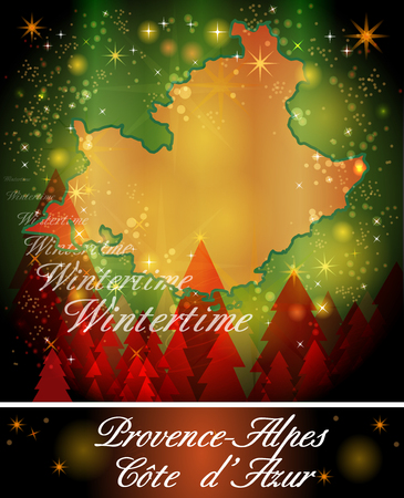 azur: Map of Provence-Alpes-Cote d Azur in Christmas Design