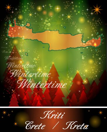 Map of Crete in Christmas Design Stock Photo