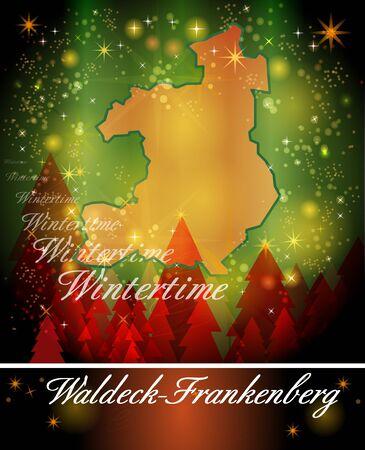 Map of Waldeck-Frankenberg in Christmas Design