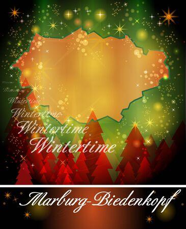 Karte von Marburg-Biedenkopf in Weihnachts-Design Standard-Bild - 35553946