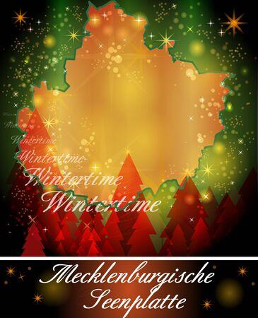 lakeland: Map of Mecklenburgische-Seenplatte in Christmas Design Stock Photo