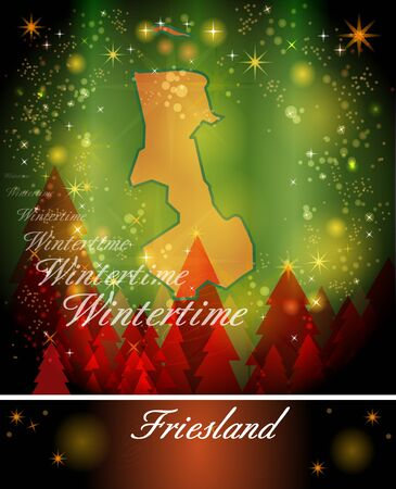 friesland: Map of Friesland in Christmas Design Stock Photo