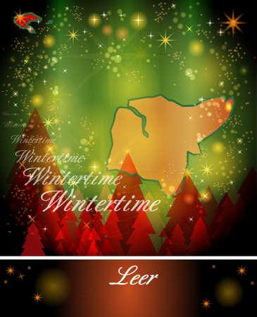 leer: Map of Leer in Christmas Design