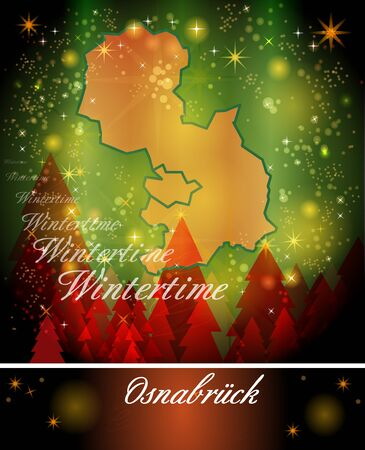 melle: Map of Osnabrueck in Christmas Design